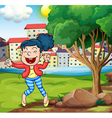 A happy woman dancing near the tree vector image vector image