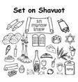 a set of graphic black and white elements shavuot vector image vector image