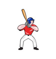 Baseball Player Batting Front Isolated Cartoon vector image vector image