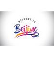 beijing welcome to message in purple vibrant vector image vector image