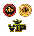 black vip symbol and gold award ribbons vector image