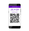 boarding pass on smartphone vector image vector image