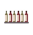bottles alcohol drinks on shelf vector image