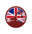 british mechanical digger union jack flag icon vector image