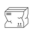 broken package box icon linear template vector image vector image