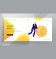 business man rolling gold coin website landing vector image vector image