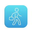 Businessman walking with briefcase line icon vector image