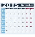 Calendar 2015 November design template vector image vector image