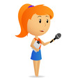 cartoon girl female reporter holding microphone vector image vector image