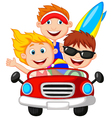 Cartoon Young man and woman having fun driving the vector image vector image