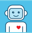 chatbot icon outline robot sign on a blue vector image vector image