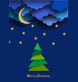 christmas card with paper night clouds moonstars vector image