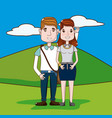 cute and funny couple cartoon vector image