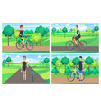 cyclists and sunny day posters vector image vector image