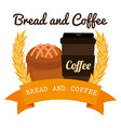 delicious cupcake and coffee label vector image