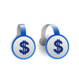 dollar symbol with two vertical lines on blue vector image