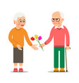 elderly man giving flowers to woman grandpa vector image