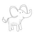 elephant cartoon in monochrome silhouette on white vector image
