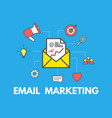 email marketing concept on blue background email vector image vector image