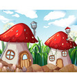 enchanted mushroom house in nature vector image