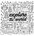 explore world cartoon contour map comic vector image
