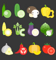 flat design vegetables icons set 2 vector image vector image