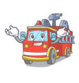 grinning fire truck character cartoon vector image