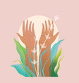 hand palms and arms raised pray for nature and vector image