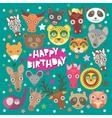 Happy birthday card funny animals muzzle Teal vector image
