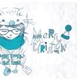 Little Christmas Girl Shows Gift Box vector image vector image