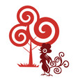 magic chicken and tree vector image vector image