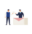 male elector give ballot or voting choosing vector image vector image