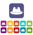 man hat icons set flat vector image vector image