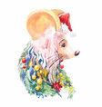 new year mouse creative christmas portrait of vector image vector image