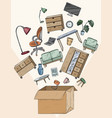 office and home furniture in box mobile vector image