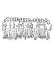 people running together sketch vector image