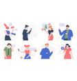 people use smartphones characters talking taking vector image
