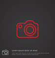 photo camera outline symbol red on dark background vector image vector image