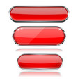 red glass 3d buttons with chrome frame oval icons vector image vector image