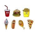 Set of happy cartoon takeaway food icons vector image vector image