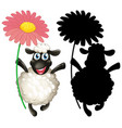 sheep with its silhouette vector image