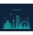 Tianjin skyline line art vector image vector image