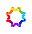 unity in diversity holding hands star shape symbol vector image