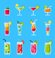 various fresh juice and cocktails set in vector image