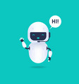 white friendly android robot say hi vector image vector image