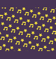 yellow music and star icon pattern on dark purple vector image