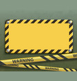 yellow warning metal plate with black stripes vector image