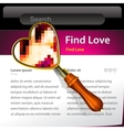 Magnifying Glass searching love website template vector image