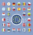 set of european union flags flat design vector image