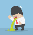 Sick businessman vomiting on the floor vector image